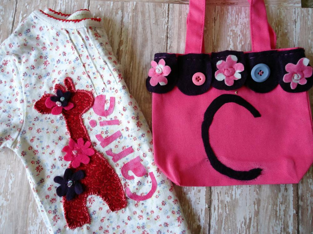 Monogrammed Girls shirt 3T Set With Matching Purse