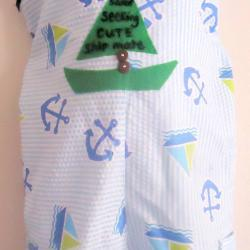 Handmade Boy Romper Sailor Theme Sizes 0 to 18 Months