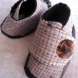 Handmade Boy Booties Denim Plaid Size 0 Months to 6 Months